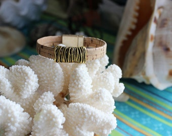 Vegan Bracelet, Cork, Gold Slider