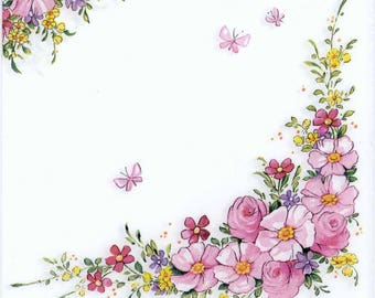4 Decoupage Napkins | Pink Flowers and Butterflies | Butterfly Napkins| Floral Napkins| Pink Napkins | Paper Napkins for Decoupage