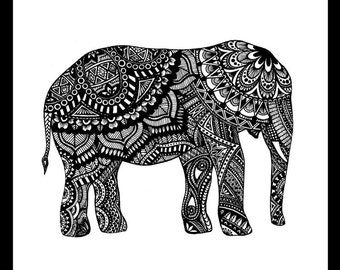 "Elephant Freehand Ink Drawing Limited Edition Print, Signed, Numbered 8"" x 8"""