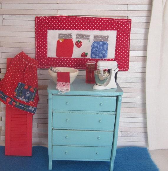 Miniature Aqua Dollhouse Chest of Drawers