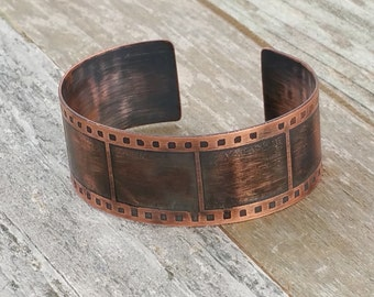 Film Strip Copper Cuff Bracelet, filmstrip, photography, movie, camera
