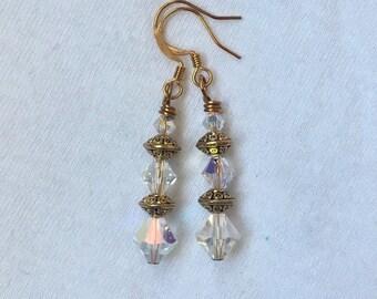 Swarovski Crystal and Gold Drop Earrings