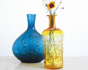 Vintage Blenko Glass Decanter / Moonscape / Joel Myers / 1960's Barware