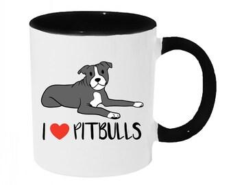 I love Pitbulls [Blue and White] Coffee or Tea 11oz Mug - Perfect Gift for Dog Lovers