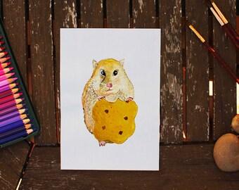 Cookie Hamster, Hamster Painting, Hamster Art, Watercolor Hamster, Hamster Illustration, Hamster Portrait, Animal Painting, Watercolor Art