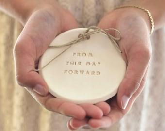 Ring bearer pillow alternative,  Wedding ring bearer From this day forward Ring dish Ceramic ring bowl