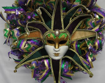 Mardi Gras Mask Wreath, Mardi Gras wreath, Mardi Gras Colors Wreath