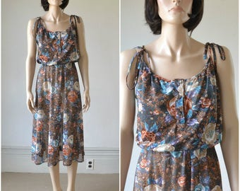 70s Sheer Sundress Floral Print Dress Boho