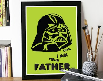 Star wars Poster movie art Print Typography Poster wall art in Green I am YOUR FATHER movie poster Star Wars movie Poster Print Star wars
