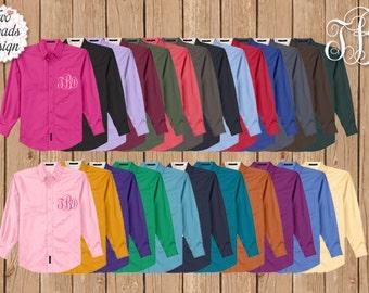 Monogram Button Up Shirt, Monogram Oxford, Boyfriend Shirt, Bridesmaid Maid Cover ups