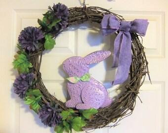 "Wreath Easter Grapevine Rabbit Handmade Lavender Flowers Floral 18"""