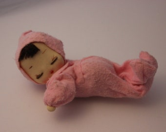 Vintage stockinette, felt and posable sleeping doll, hand painted face