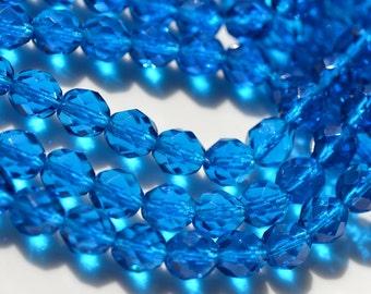 Deep Capri Blue 8mm Faceted Fire Polish ROund Glass Beads   25