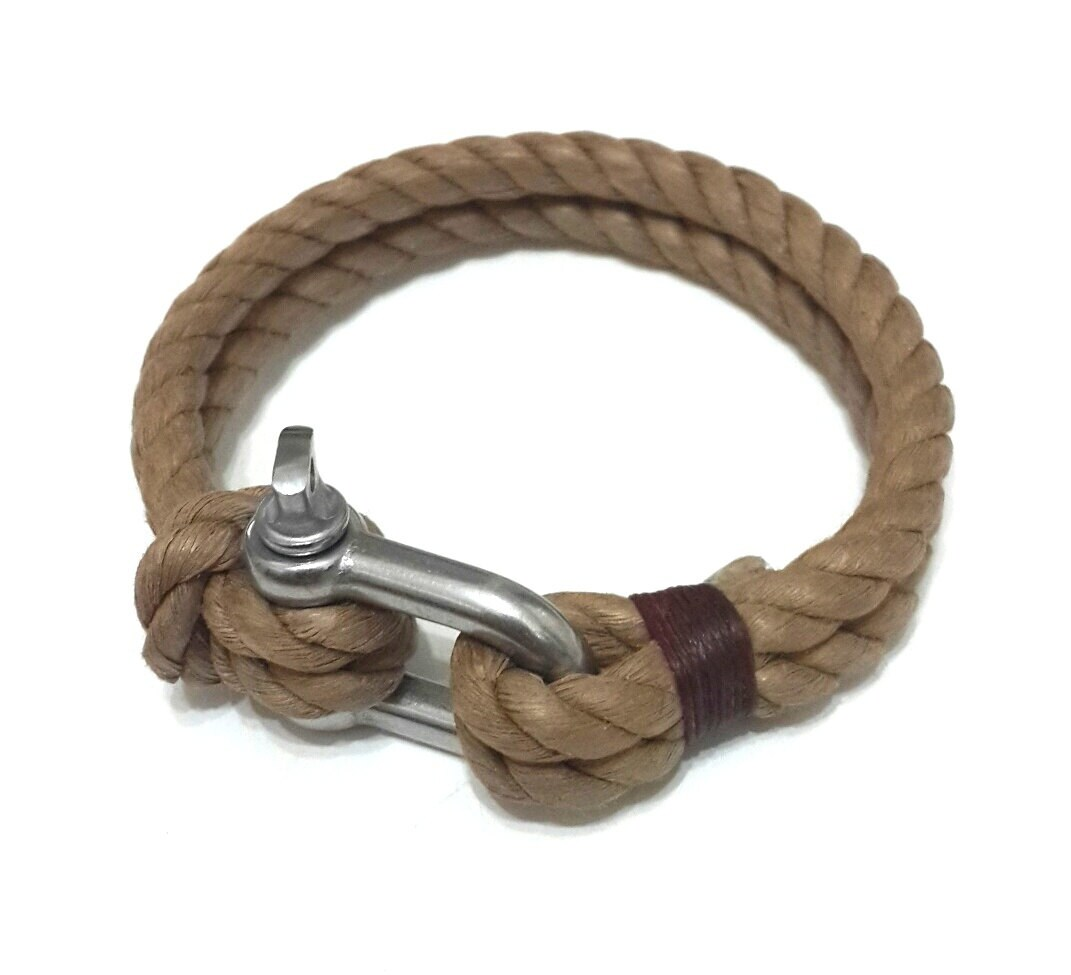 Linen Rope Bracelet, Mens Bracelet, Brown Mens Bracelet, Rope Mens Bracelet, Brown Rope Bracelet, Mens Gift, For Him