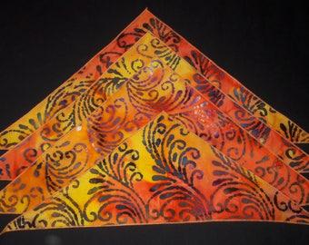 dog bandana batik fabric, orange, yellow, purple