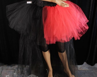 Harliquin Adult tutu tulle skirt half red black Formal hi low bachelorette bridal bustle goth dance costume -All Sizes- Sisters of the Moon