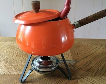 SALE / vintage, retro, japanese fondue pot, four forks, orange