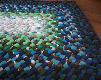 Made to order Rectangular Braided Handmade Rug /Rag Rug / Floor Carpet in your color choice from recycled fabrics