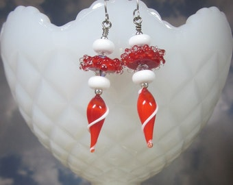 "Sterling Silver Earrings - ""Candy Cane"" -Artisan Lampwork Glass, Swarovski Crystals, Unique, One of a Kind, SRAJD, OOAK"