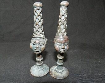 Bronze heads, Queens - mothers Office, commemorative heads, Bronzes Bini Edo - Ifè Yoruba Nigeria, Benin City - 11 cm (4.33 inches) tall