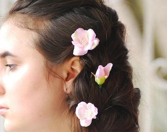 Bridal Hair Pins Blossom Hair Pins Wedding hair pins Flower hair pins Bridal flower hair clip Boho Wedding Gift for her Pink hair pins