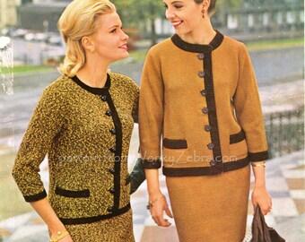 Vintage Knitting Knit Pattern PDF 129 Iconic 60s Suit from WonkyZebra