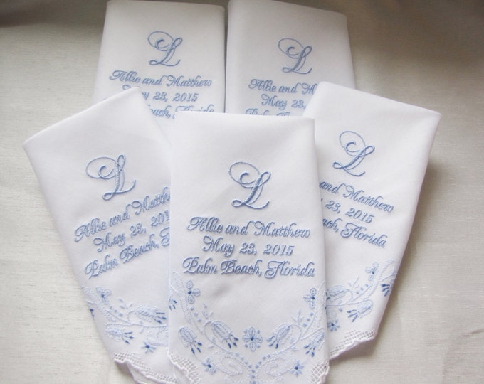 Five Custom Embroidered Wedding Handkerchiefs with Your Monogram