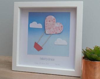 Personalised hot air balloon new baby, child, nursery, birthday, wall art