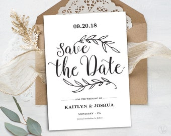 Printable Save the Date Card Template, Kraft Save the Date Card, Instant DOWNLOAD - EDITABLE Text - 5x7, STD021, VW01