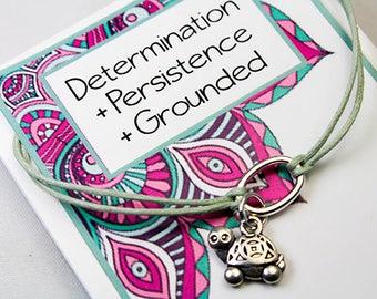 Wish Bracelet - Friendship Turtle Bracelet - Turtle Charm Bracelet - Determination, persistence, grounded INT 023