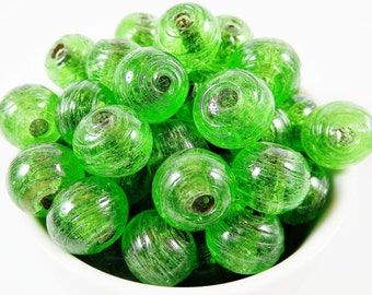 BULK - 30 Chunky Artisan Handmade Recycled Green Glass Bead - 13mm - BE118