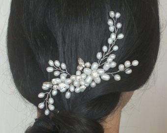 Elegance - Freshwater Pearl Crystal and Rhinestone Bridal Comb