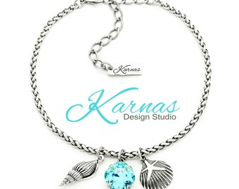 OCEAN WAVE 12mm Light Turquoise Cushion Cut Crystal Anklet Swarovski Elements *Antique Silver *Karnas Design Studio *Free Shipping*