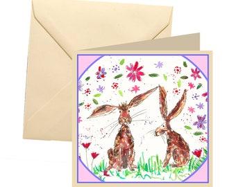 Rabbit greetings card, blank card, greetings card, birthday card, note card, thank you card, rabbit thank you card, rabbit card, rabbit