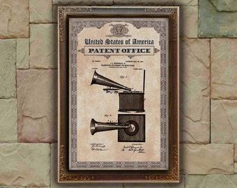Gramophone box buff vintage Patent Print, Gramophone Gift, Gramophone Patent Print, Wall Decor, Patent Decor, Gramophone Decor
