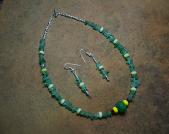 Green Aventurine Gem Chips, Lemon Stone , Red Coral , Yellow  Accents, Faceted Emerald  Pendant, .925 Silver Necklace and Earrings