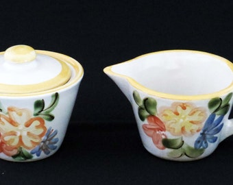 "Vintage LOUISVILLE STONEWARE Sugar w Top & Creamer / 3"" Tall /  Country Yellow and Blue Flowers / Hand-Painted and made in Kentucky"
