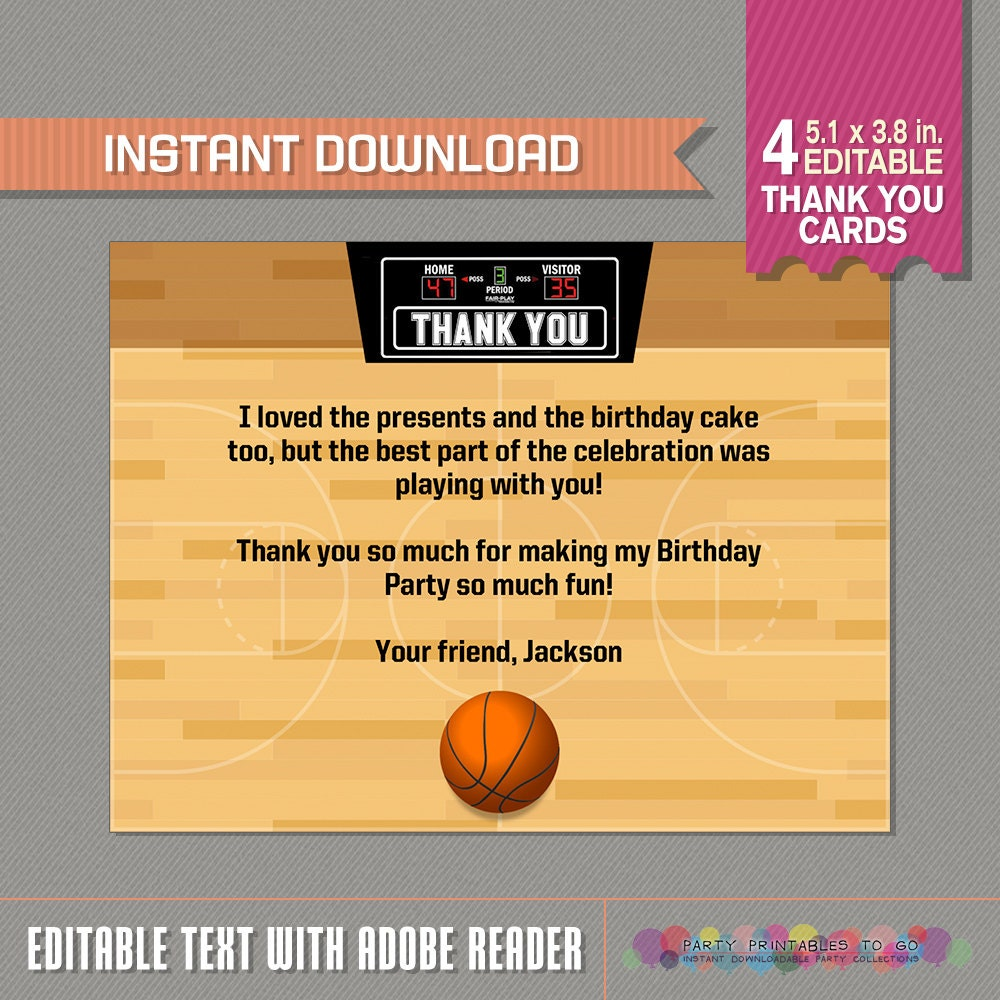 Basketball Thank You Card Basketball Party Basketball