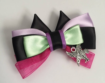 Disney Inspired Sleeping Beauty Maleficent Bow, child's hair accessory, Fairytale, Storybook, Child's Gift