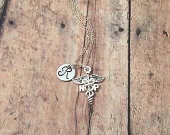 Nurse Practitioner initial necklace - NP necklace, nurse jewelry, caduceus necklace, gift for nurse practitioner, silver NP necklace