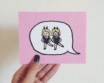 Emoji Cards! - Dancing Showgirls (with Bunny Ears)