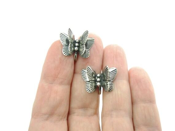 Vintage Handmade Sterling Silver Butterfly Earrings. Engraved 3D  Screw Backs. c. 1950s