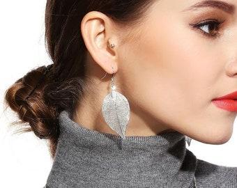 BESTSELLER Real Leaf Earrings, Silver/Gold/Black Dipped Leaf Earrings
