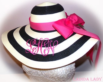 Monogrammed Floppy Hats, Stripe, Black, Coral or Mint with Bow,  Bride, Shower, Bridal, Honeymoon,  Bridesmaids, Sunbonnet, Derby, Cup Race