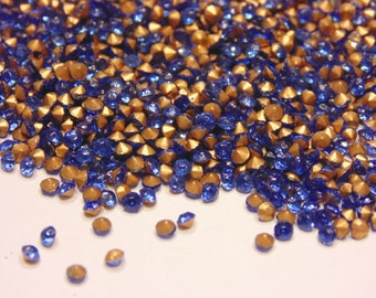 100 vintage point back glass sapphire rhinestones, 2.3 mm (S11/4)