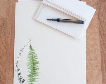 Letter Writing Paper Set - Fern and Stalk - Eco Friendly Writing Set - Gift for Her