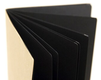 BLACKOUT! Black paper Traveler's Notebook Insert   - Choice of 8 sizes.  White pen optional.
