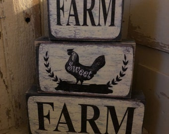 "3 pc ""Farm Sweet Farm"" Wooden Set"