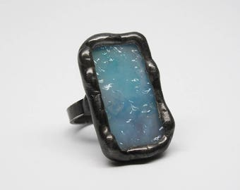 Cerulean Sea - Sterling Silver Stained Glass Ring - Size 8