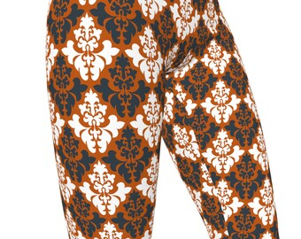 UT Texas Orange, Damask Pattern High Waist Women's Yoga Pants